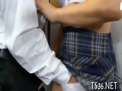 ribald action with schoolgirl