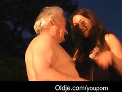 lucky granddad copulates with hawt girls
