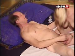youthful blonde give oral-stimulation