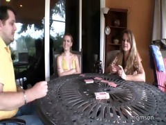 daughter plays taboo game with parents
