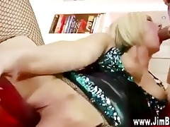 golden-haired in nylons acquires off with sextoy