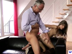 youthful european bitch copulates old mans pounder