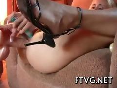 busty gal masturbating