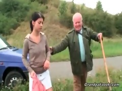 cute babe seduces grandad on the road