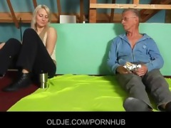 shy oldman enticed and drilled by gutsy hussy