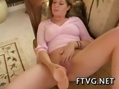 babe plays with dildos