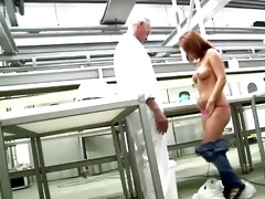 youthful arse redhead acquires s garb in front of