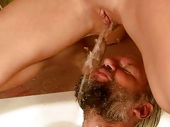 old man and gal pissing and fucking