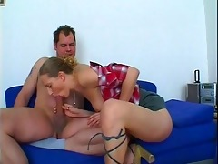 concupiscent honey gives slutty daddy trio head