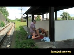 old man blackmails cute golden-haired slut for