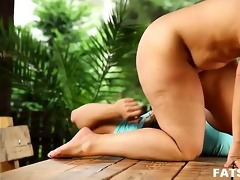 bulky sandra makes younger dude worship her