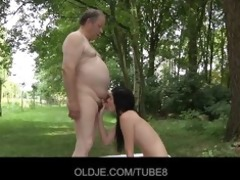 sexy brunetted fucked by gross old fellow