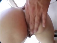 pigtail bruenette fuck by a stud