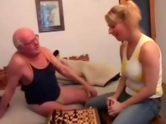 old man plays chess and copulates a youthful gal
